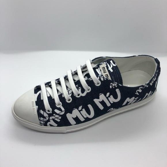 Miu Miu Printed Denim Sneaker Size